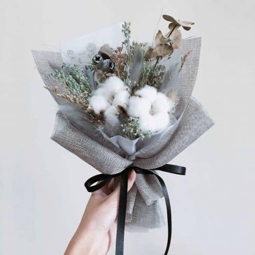 棉花乾燥花束|網美同款|HUE詼-乾燥花藝設計
