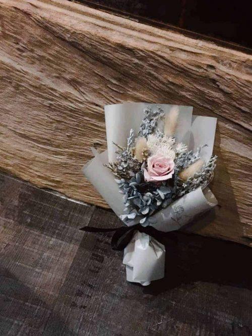 奶茶粉永生花束 HUE詼-乾燥花藝設計