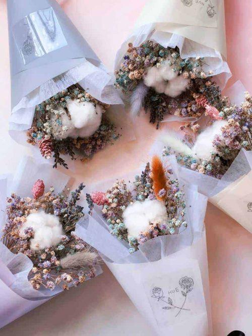 糖果色甜筒小花束|HUE詼-乾燥花藝設計