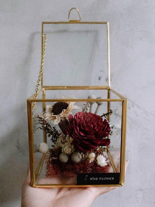12星座系列【牡羊座方形玻璃花盒】- 乾燥花/專屬生日禮物