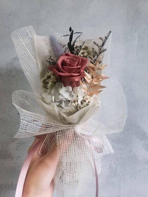 小型永生花束【煙燻粉】- 永生花