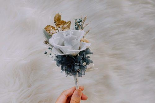 新郎/主婚人胸花【湖水藍】- 婚禮 / 乾燥花