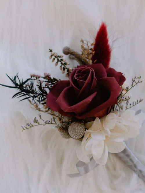 新郎/主婚人胸花【胭脂】- 婚禮 / 乾燥花