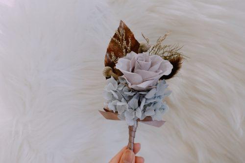 新郎/主婚人胸花【漾水紅】- 婚禮 / 乾燥花
