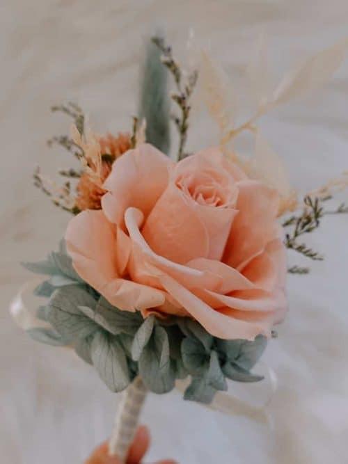 新郎/主婚人胸花【奶茶粉】- 婚禮 / 乾燥花